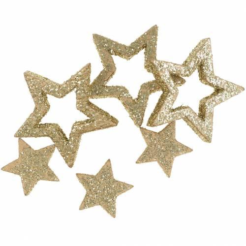 Dekosterne Glitzer Glitzersterne rot gold silber Tischdeko Streudeko Glitter