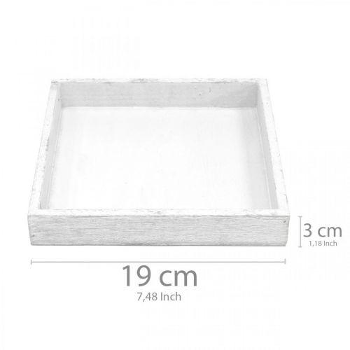 Deko Tablett Weiß quadratisch Holz Tischdeko Vintage 19×19cm