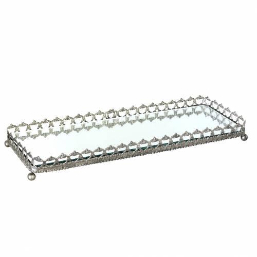 Deko Tablett mit Spiegelboden Antik Silber 53cm x 18cm