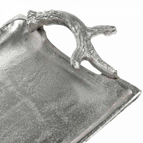 Deko Tablett Hirschgeweih Silbern Aluminium Rechteckig 33x18x4cm