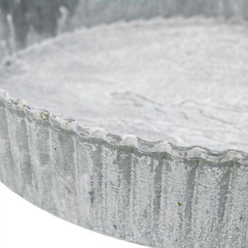 Dekoteller Kuchenform, Metalldeko, Kerzentablett rund Weiß gewaschen Ø21,5cm H4,5cm