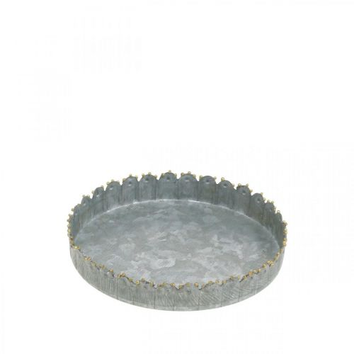 Dekoteller, Metalldeko, Kerzentablett rund Silbern/Golden Ø12,5cm H2cm