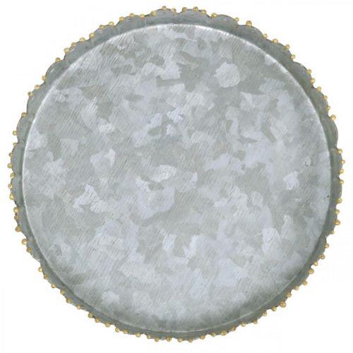 Dekotablett Metall, Tischdeko, Teller zum Dekorieren Silbern/Golden Ø18,5cm H2cm