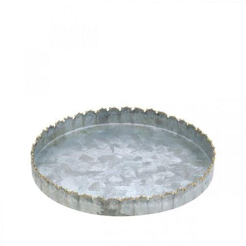 Metalltablett rund, Kerzenteller, Tischdeko Silbern/Golden Ø15cm H2cm