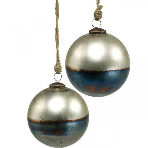 Weihnachtskugeln zweifarbig Glaskugel Ø12cm Blau, Metallic 2St