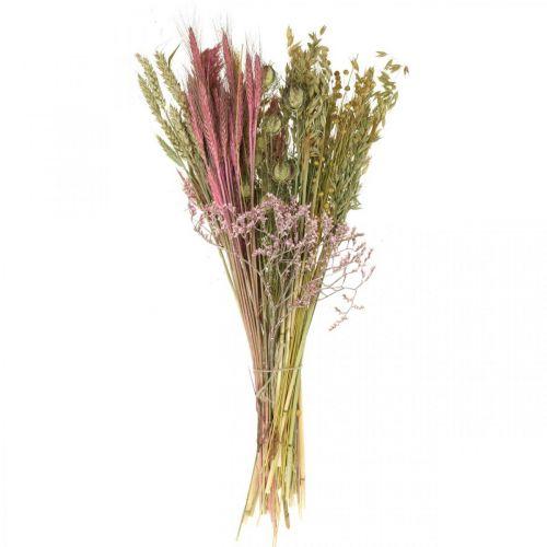 Trockenblumen DIY Set für Bouquet Rosa Trockenfloristik 60cm