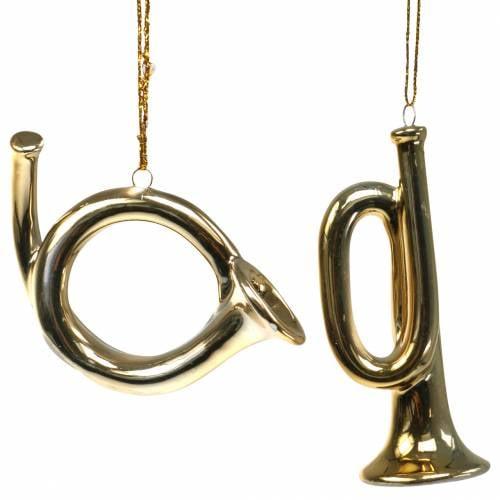 Christbaumschmuck Trompete und Horn zum Hängen Gold 9,5cm 2 St