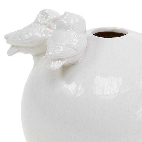 Vase mit Eulen Ø11,5cm Weiß