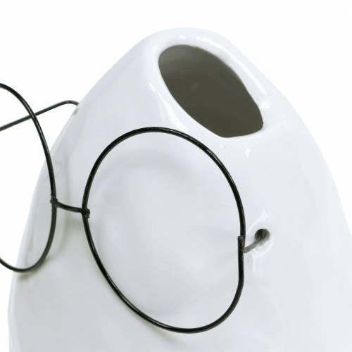 Vase mit Brille Osterdeko Keramik Weiß Ø8,5cm H13cm 3St