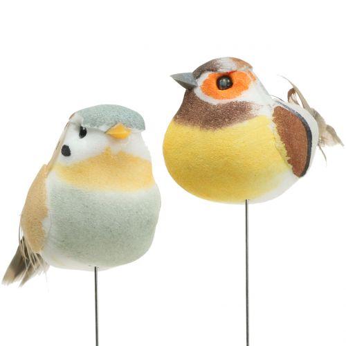 Mini-Vögel am Draht Weiß/Braun 5-7cm 16St