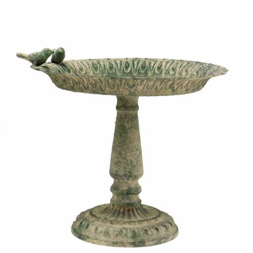 Vogeltränke auf Sockel Metall Antik Moosgrün Beige Ø28,3cm H26,5cm