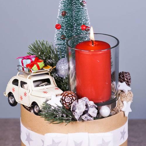Weihnachts-Auto mit Paketen Weiß L11cm