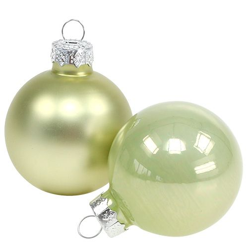 Christbaumkugeln Hellgrün.Weihnachtskugel Glas ø6cm Hellgrün Mix 24st