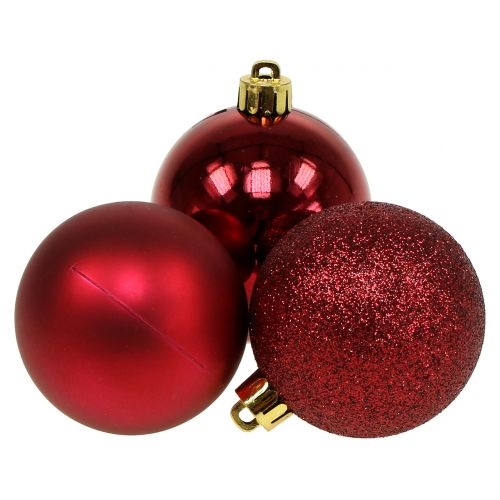 Weihnachtskugel Rubinrot Mix Ø6cm 10St