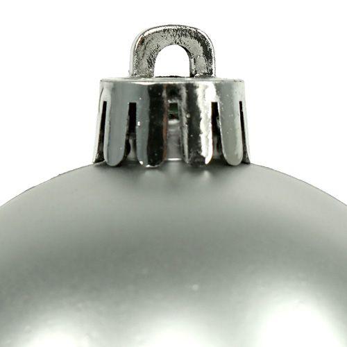 Weihnachtskugel Plastik Ø6cm Silber Mix 12St