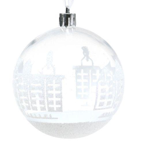 Weihnachtskugel Plastik Weiß,Klar Ø8cm 2St