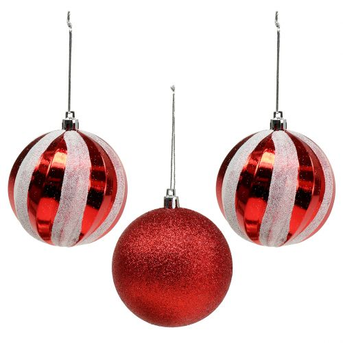 Rote Christbaumkugeln.Christbaumkugeln Aus Kunststoff Rot Weiss O8cm 3st