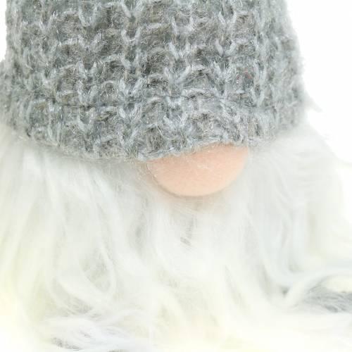 Kantensitzer Wichtel mit Wollmütze Grau 8cm H37cm 2St