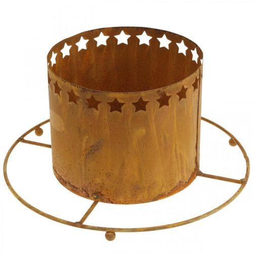 Windlicht mit Sternen, Advent, Kranzhalter aus Metall, Weihnachtsdeko Edelrost Ø25cm