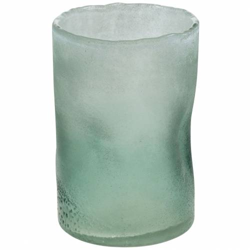 Glaswindlicht Grün gefrostet Ø10cm H15cm