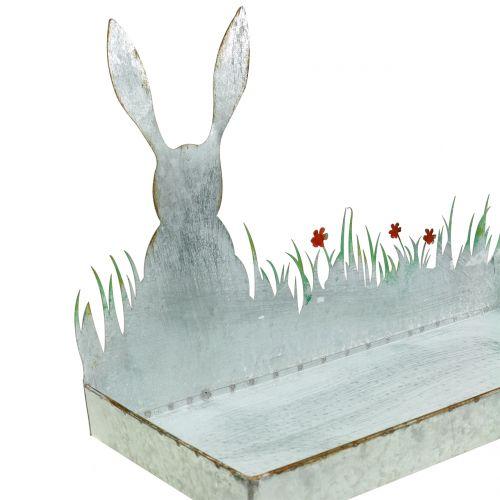 Zinkschale Frühlingswiese mit Osterhase 35cm x 16cm H24cm