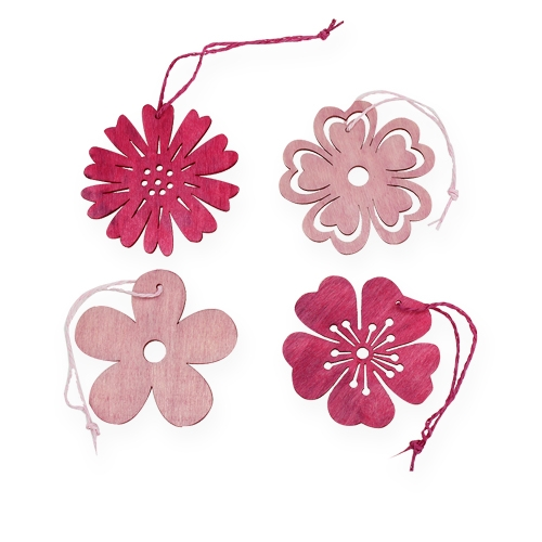 holzblumen zum aufh ngen rosa pink 8cm 12st einkaufen in sterreich. Black Bedroom Furniture Sets. Home Design Ideas