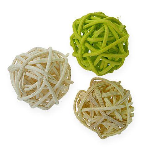Rattanball Hellgrün, Blassgrün, gebleicht 72St