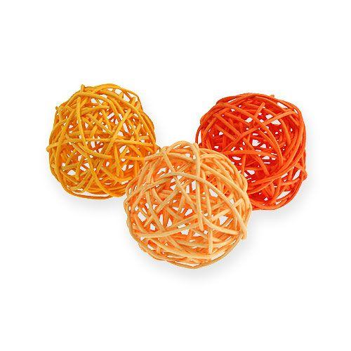 Rattanbälle Ø4,5cm Orange sortiert 30St