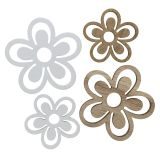 Holzblume Weiß/Natur 3cm - 4,5cm 48St