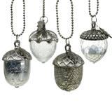 Christbaumschmuck Eichel Glas Silber Antik 11cm 4St