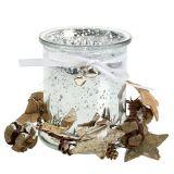 Teelichthalter Glas mit Kranz 10cm