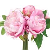 Kunstblumenstrauß mit Pfingstrosen Rosa Ø27cm 1St
