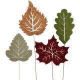 Pflanzenstecker Blatt 8-10cm Natur/Grün/Lila 24St