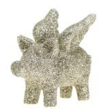 Deko Schwein mit Flügeln Gold Glimmer 6cm