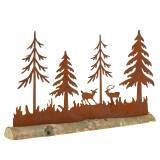 Wald-Silhouette mit Tieren Edelrost am Holzfuß 30cm x 19cm