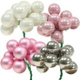 Mini Weihnachtskugel am Draht 40mm Rosa, Silber, Weiß 36St